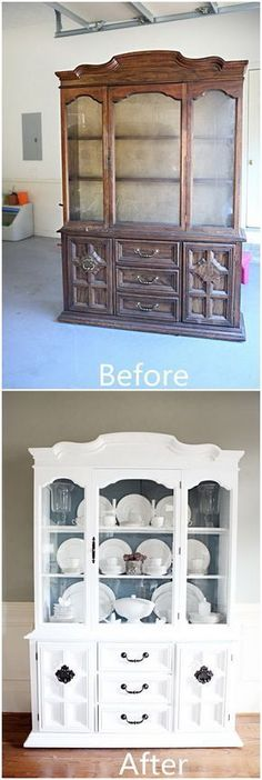 DIY Furniture Makeovers: Shabby Chic Hutch Makeover. #shabbychicfurnituremakeover