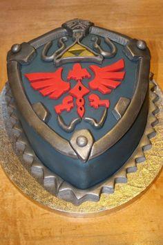 Legend of Zelda - Shield Cake The Legend Of Zelda, Cake Cookies, Cupcake Cakes, Cupcakes, Baby Cakes, Fondant Cakes, Link Zelda, Peyton Manning, Beautiful Cakes