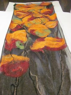 Taos fiber arts.Tree of Life, Fall. Nuno felted wall panel