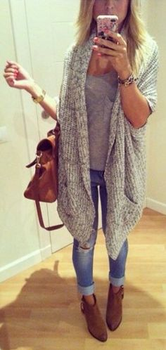 Oversized cardigan, comfy tee, distressed jeans and booties