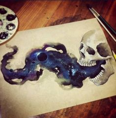 tattoo design, skull painting, watercolor skull galaxy painting --------------------------------------------------- This piece is astounding! The artist made a realistic skull, and realistic galaxy in smoke. Skull Painting, Galaxy Painting, Space Painting, How To Paint Galaxy, Skull Tatto, Performance Artistique, Totenkopf Tattoos, Kunst Tattoos, Art Plastique
