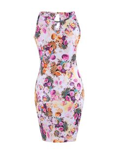 aaaf9c8a97 Floral Printed Cut Out Sexy Boat Neck Bodycon-dress from by FashionMia