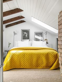 Check Out 39 Dreamy Attic Bedroom Design Ideas. An attic bedroom is usually associated with romance because it's great to get the necessary privacy. Dream Decor, Home Bedroom, Bedroom Design, Yellow Interior, House Interior, Yellow Room, Attic Bedroom Designs, Remodel Bedroom, Yellow Bedroom