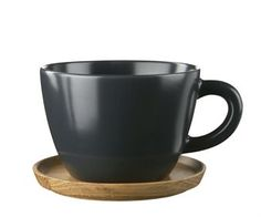 Höganäs Keramik - Our products - Mugs - Coffee mug with wooden saucer 33 cl