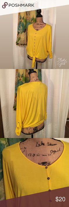 Chaus Bright Yellow Bat Wing Tie Front Top Summer is here!  Make a statement in this soft Rayon/spandex blend top. Great with white capris or get boho with a flowery skirt! In like new condition. Chaus Tops Blouses