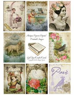 CLASSIC No. 9 Antique Images Digital Collage Sheet - Digital Printable Crafts - Victorian 2.5 x 3.5 atc Antique Cakes