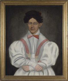ERASTUS SALISBURY FIELD (AMERICAN 1805-1900). PORTRAIT OF JULIE SMITH IN WHITE DRESS WITH RED SASH. Sold: $9,440 ($8,000)