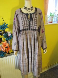 GUDRUN SJODEN PURPLE GREY EMBROIDERED COTTON DRESS SZ LARGE WEDDING CRUISE PARTY | eBay