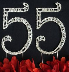 "55th Birthday Cake Topper - Large 4 1/2"" Tall 55th Wedding Anniversary Cake Topper - Acrylic Rhinestone Number Cake Topper -- Quickly view this special deal, click the image : baking desserts recipes"