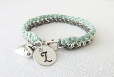 Light Blue & Silver Grey Delicate Hand Crocheted Chain Bracelet With Monogram Initial and Sterling Heart Charms by Foreverafterbeading on Etsy
