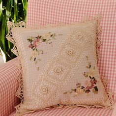 Handmade Vintage Cream Pillow Crocheted Throw Pillow Flower Pattern Crochet Pillow Insert Included Size 18 X 18 Inch Crochet Pillow Pattern, Crochet Cushions, Granny Square Crochet Pattern, Crochet Patterns, Tambour Embroidery, Silk Ribbon Embroidery, Cream Pillows, Throw Pillows, Vintage Pillows