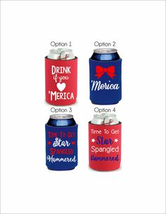 Patriotic Koozie, 4th of July Can Cover, Beer Cover