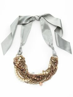 PEARL CHAIN RIBBON NECKLACE by Sequin on Gilt.com