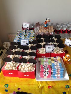 Mickey popcorn, Mickey and friends chocolate buscuits, Mickey hands cereal bars, Mickey shaped rice crispies, Mickey bottle water.
