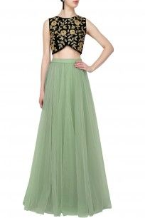 Black floral zardozi embroidered crop top and sea green flared skirt set