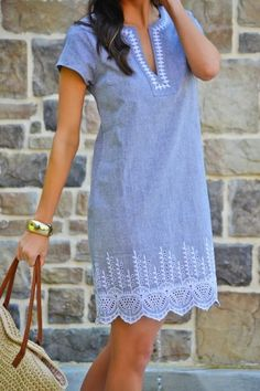 Classic look with a bit of white embroidery on chambray fabric. short sleeve dress classy and comfortable with tailored fit. Linen Dresses, Cute Dresses, Casual Dresses, Casual Outfits, Cute Outfits, Summer Dresses, Chambray Fabric, Chambray Dress, Dress Outfits