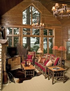 Hickory Gathering Room Example Rustic Log Furniture Cabin Decor Living