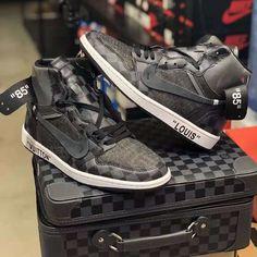 reputable site 1ec2a 4eb12 Custom Off-White x Nike Air Jordan 1 x Louis Vuitton Monogram and Damier  Pattern