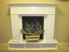 DIY Faux-Fireplace Mantel with Chalkboard Backing