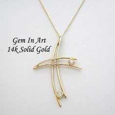 Big Gold CrossHollow gold crossfloating gold cross14k solid