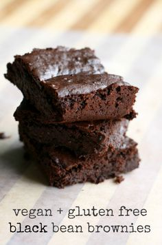Gluten free and vegan black bean brownie recipe - very rich and fudgy, super decadent! Another black bean brownie recipe. Vegan Sweets, Vegan Desserts, Vegan Recipes, Dessert Recipes, Free Recipes, Kid Recipes, Vegan Dishes, Delicious Desserts, Vegan Black Bean Brownies Recipe