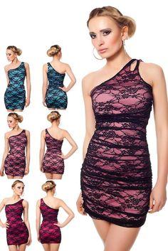 Sexy OneShoulder Minikleid Partykleid Cocktailkleid Dress Robe Spitze Kleid