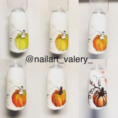 Fall nails , pumpkin tutorial,  Halloween  nail art inspiration