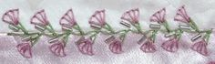 I ❤ embroidery . . . TAST #61 - Up-down Feathered Buttonhole. I used 3 strands of green floss for the Up-down Feather stitches, then 2 strands of floss for the Buttonhole Wheel flowers. Silver bugle beads finish the seam. ~By Susie W