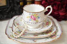 ON SALE Royal Albert Petit Point 4 Piece Place by TheTeacupAttic circa1940's