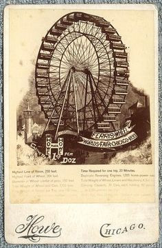 Howe Cabinet Card Advertising the Ferris Wheel at the World's Fair in Chicago 1893