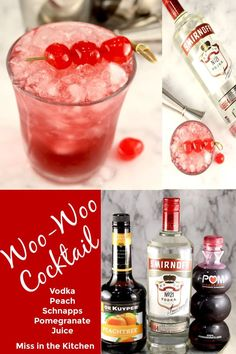 Woo-Woo Cocktails are a delicious mixed drink made with vodka, peach schnapps and pomegranate juice. A quick and easy cocktail to enjoy after a long day or perfect for parties. Cocktails For Parties, Spring Cocktails, Vodka Cocktails, Refreshing Cocktails, Easy Cocktails, Cocktail Recipes At Home, Easy Mixed Drinks, Pineapple Vodka, Best Soup Recipes