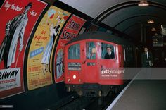 A Bakerloo line train pulls into an Underground station in London, England, circa London Landmarks, Famous Landmarks, London Underground Train, Tube Train, Paris Metro, Old London, North London, S Bahn, London History