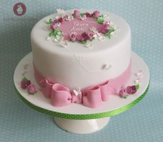 Christening / Baptism - Grace - Beautiful Christening Cake, white with shades of pink