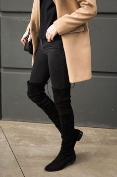 All black never looked better! Camel coat, and suede over-the-knee boots!