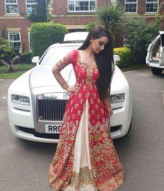 Red White Embroidered Pakistani Bridal Jacket Lehenga Style - Handsome Boys about you searching for. Indian Bridal Outfits, Pakistani Wedding Outfits, Indian Designer Outfits, Designer Dresses, Desi Wedding Dresses, Party Wear Dresses, Indian Gowns, Indian Attire, Lehenga Style
