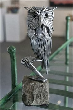 """Unique Junktique: Tuesday's Top Five Favorite Junk Finds #4 """"Silverware owl """" by Gary Hovey"""