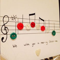 Christmas card christmas music with button notes paper handmade handmade by lucy swainsbury m4hsunfo