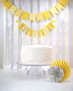 Yellow Flags Cake Topper  ///////  Wedding Cake by BeeBuzzPaperie. , via Etsy.