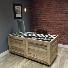 Reclaimed Pallet Wood Desk with Rolling Castors - Customizable Painted/Printed Top - Handmade in the UK