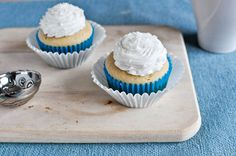 Cupcakes for two: 1 egg white, 2 tablespoons sugar, 2 tablespoons melted butter, 1 teaspoon vanilla, 1/4 cup flour 1/4 heaped teaspoon baking powder, pinch of salt, 1 1/2 tablespoons milk Preheat oven to 350 degrees. Line a muffin pan with 2 liners. Bake for 10-12 mins