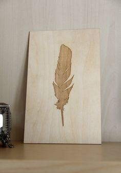 Wood Laser Cut and Engraved Feather Plaque | Wood Art