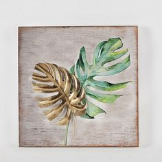 Art Leaf Wall Art (Set Of Multi - This set of 2 Art Leaf Wall Art will add earthy, tropical style to any space. The stunning metal palm leaves are finished in distressed green and gold and sits within a metal frame. Wall Decor Set, Metal Wall Decor, Wall Art Sets, Room Decor, Leaf Wall Art, Metal Plaque, Graduation Party Decor, Painted Leaves, Home And Deco