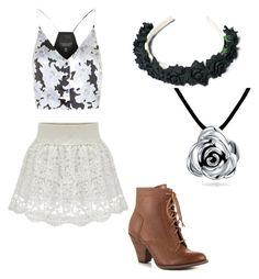 """""""Black/white flower outfit"""" by horsevespalove ❤ liked on Polyvore featuring Mojo Moxy, Topshop and Bling Jewelry"""