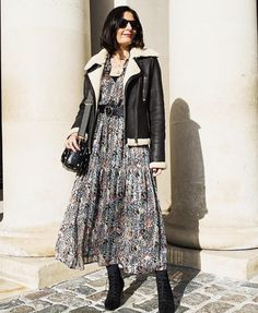 My go to outfit this winter, is a must have midi dress, warm winter coat and boots from Timpanys Midi Dress Outfit, Boho Fashion, Luxury Fashion, Winter Boots Outfits, Denim Vests, Vintage Girls, Office Wear, Winter Wardrobe, Everyday Outfits