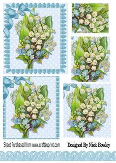 Pretty vintage lily of the valley with bow pyramids on Craftsuprint - Add To Basket!