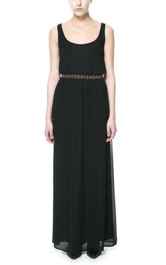 Black Spaghetti Strap Belt Tank Chiffon Dress
