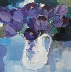 Purple Blue Tulips Still Life Original Oil Painting Palette