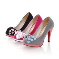 Faux Suede Bow And Buttons Decor Platform Pump Heels @ MayKool.com