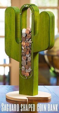 Saguaro shaped coin bank
