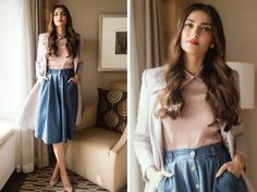 Another day, another outfit, another winner for Bollywood's style queen Sonam Kapoor. Bollywood Girls, Bollywood Celebrities, Bollywood Fashion, Bollywood Saree, Celebrities Fashion, Bollywood Actress, Celebs, Western Dresses, Western Outfits